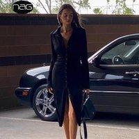 Newasia Garden Nervürlü Elbise Kadın Kış Tek Göğüs Uzun Elbiseler Siyah Sheer Seksi Elbiseler Parti Kulübü Giyim Vestido Midi LJ201114