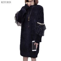 2021 herbst winter mohair pullover pullover dress frauen plus größe mesh pailletten patchwork beiläufig lose schwarze gestrickte kleid weiß