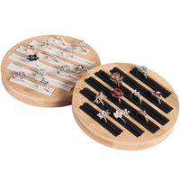 NewVintage Bambus und Holz Schmuck Ring Fachanzeige Platte Ring Rahmen Schmuckanzeige Display Prop Ring Lagerung