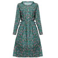 A linha de algodão floral e linho redondo pescoço manga comprida pulôver outono temperamento casual mulheres dres