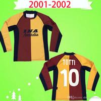 كم طويل 2001 2002 ريترو روما لكرة القدم جيرسي توتي باتيستاتا مونتيلا لكرة القدم قميص خمر روما بالبور مارتنيتي فوزر دي روسي مجلي