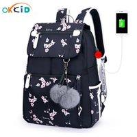Okkid Rosa Flower School Rucksack für Mädchen Frauen Reise Laptop Rucksack USB Ladezettel Rucksäcke Für Kinder Studentenschultasche 201029