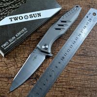Twosun 14C28N lâmina de aço cnc cetim tc4 titanium alça de bolso presente de coleta faca flipper sobrevivência abrante facas de caça TS292