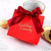 Saco de doces de casamento com fita 11.4 * 10 * 4.5cm papel kraft branco obrigado favores de festa de casamento e saco de presente DWF3947