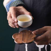 Valnöt träkustar plommon blomma form kopp pad kaffe te kopp trä dryck matta hem bar kontorsmugg coaster eef3921