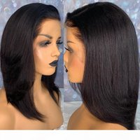 Blunt Cut Luce Yaki Lisci Corti parte anteriore del pizzo dei capelli umani parrucche per donne di colore diritta crespa 360 pizzo parrucca frontale