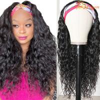 Parrucche per la fascia dell'onda dell'acqua Capelli umani per le donne nere Sciarpa peruviana Parrucca dell'acqua Parrucche dei capelli umani dei capelli dell'acqua