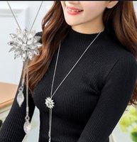 Zircon Snowflake Long Collana Collana Maglione Catena Moda Fine Metal Catena di cristallo Rhinestone Pendente in cristallo collane regolata PS0840