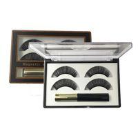 Magnetic 3d false ресницы и подводка для глаз набор 3 магниты для глаз длинные ресницы пушистые фальшивые ресницы коробки упаковки 2 пары