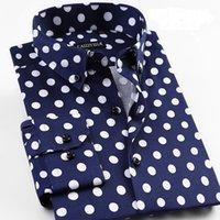 Grevol Yeni Varış erkek Moda Rahat Uzun Kollu Gömlek Benzersiz Tasarım Polka Dot Gömlek Modern Moda Pop Elemanı Y200408