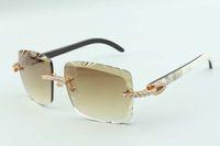 2021 عدسة عدسة لا نهاية لها الماس النظارات الشمسية 3524020، الطبيعية مختلطة الجاموس قرون المعابد نظارات، الحجم: 58-18-140mm