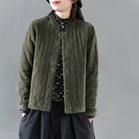 Sonbahar Sanatlar Stil Kadınlar Uzun Kollu Pamuk Kadife Kısa Ceket Tüm Eşit Casual Gevşek Kapitone Kalın Ceketler En Kaliteli S564 201023