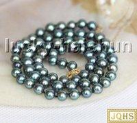 """Catene da 17 """"6.5mm rotondo Peacock nero nero perle perle collana 14kt chiusura J132931"""