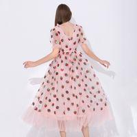 스팽글 딸기 드레스 여성 우아한 긴 드레스 V 목 퍼프 슬리브 메쉬 섹시한 파티 드레스 빈티지 플로랄 드레스 여성 robe h1210