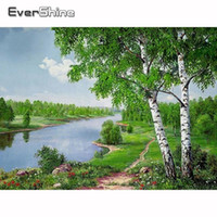 Paintings Evershine 5D Diamond DIY Mosaic Landscape Painting Birch Trees Full Set Embroidery River Pictures Of Rhinestone
