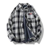 Camisas de tela escocesa de los hombres de la marca casual otoño nuevo hombres más terciopelo de manga larga cálida japonés japonés camisa de solapa retro Tops Q0109