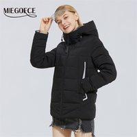 Miegofce Kış Yeni kadın Pamuk Ceket Sıcak Kapüşonlu Ceket Rüzgar Geçirmez Ceket Basit Tasarım Kış Parka Kış Giysileri Kadın Y201012