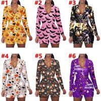 Frauen Jumpsuits Strampler Herbst Winterkleidung V-Ausschnitt Langarm Halloween Druck Haushalt Bodysuits Shorts Sexy Club Heißer Verkauf 0645