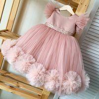 Blush Pink Flower Muchacha Vestidos y vestido de la madre con grandes flores hechas a mano Girl Vestidos de fiesta Paguent Vestidos de cumpleaños