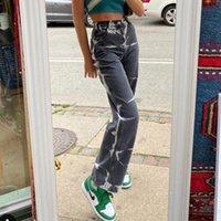 Womens Cinza Cinza Aesthetic High Cintura Calças de Jeans Harajuku Baggy Baggy Tintura Imprimir Casual Denim Calças Streetwear