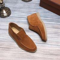 أحذية لورو رجل جلد طبيعي اسطوانة اسطوانة الأوسط امرأة ناجحة رجل الترفيه أحذية nubuck الجلود مع مربع وكيس الغبار