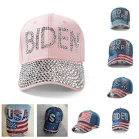 Cytal Rhinestone Biden Hat Denim Snapbacks Balón de béisbol Caps Diamond President Biden Harris EE. UU. Flag Cowboy Visor Deporte Headwear E111802