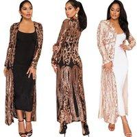 Langhülse bestickte Pailletten Top Kimono Frauen Tops und Blusen Sexy Mode Mantel lange Damen Bluse DW1941