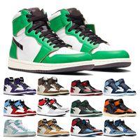 أحذية رجالي كرة السلة 1 ثانية عالية jumpman 1 عشبة عشبة تو الباندا محطمة الخشب الداخلي محظوظا الأخضر التعادل صبغ الرجال المرأة الرياضة رياضة المدرب