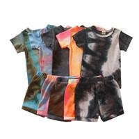 Baby Boy Girl Abbigliamento Tie Dye Abbigliamento Set Set di camicia manica corta Pantaloncini 2 pezzi Moda Abbigliamento per bambini Abbigliamento estivo