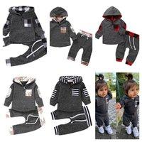 Kinder Trainingsanzug Baby Jungen Mädchen Mit Kapuze Outfits Pullover Pullover Tops und Hosen Leggings Zweiteiler Kleidung Set Mode Sportwears E121604