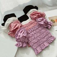 الصيف الفتيات الأميرة بلوزة النفخة كم القطن طفل طفلة بلوزة قمصان الاطفال قميص فتاة قمم البلوزات ملابس الأطفال Y200704