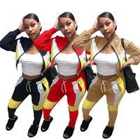 Vente chaude Femmes S Cardigan Two Piece Sportswear Designer Jacket Couture Couleur Solide Collant à manches longues Collants Jobging Top Jupe Set