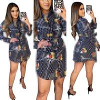 2021 Marke Mode Design Kleidung Frauen Digital Gedruckt Langarm Hemden Kleid Partei Größe S-2XL