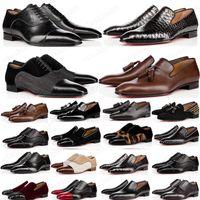 Top Quality Chaussures Chaussures Chaussures Hommes Mocassins Noir Rouge Spike Cuir Slip Slip sur robe Mariage Flats Flats Basques pour Business Party 39-47