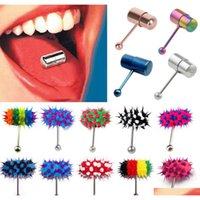 New Edelstahl vibrierende Massage Zungenringbolzenkörper Piercing Barbell P9CDC