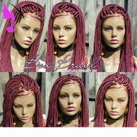 Synthetic Braided Box Braids Wig Lace Front Wigs For Black Women Burgundy Color Heat Resistant Fiber Baby Hair Braid Wig