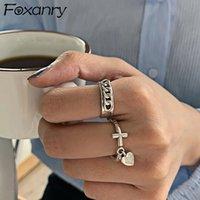 Foxanry 925 Стерлинговые серебристые модные кольца для женщин творческие винтажные ручной работы любовь сердца вешалка панк хипшоп партийные украшения