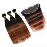 # 1B 4 30 متوسط أوبورن أومبير البرازيلي العذراء الشعر البشري ينسج مع أمامي مستقيم 3tone أومبير 13x4 الدانتيل أمامي إغلاق مع 3 حزم