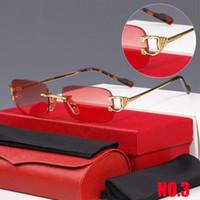 Occhiali da sole Occhiali da sole di moda di marca di forma rettangolare per uomini e donne Occhiali da sole rossi rimless Occhiali da sole in metallo Cornice di marca Occhiali da sole