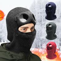 Winter Beanie Gesichtsmaske Gläser Strickmütze Balaclava dicker Schal warme Schädel Nackenabdeckung Schneekappe mit Goggle Männer Frauen