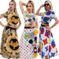 Europäische und amerikanische zweiteilige Kleid Buchstabe Druck Damenmode Mode Casual Kurzarm Anzug Tshirt + Falten Rock Parteigröße S-2XL