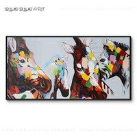 Reine handgemalte hochwertige Moderne Wandbild 4 Pferde Ölgemälde auf Leinwand Modern Design 4 Pferde Zebra Messer Malerei1