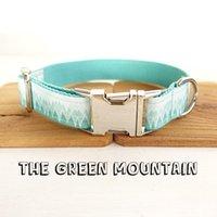 Collier de chien en nylon de nylon personnalisé avec boucle de haute qualité en métal The Green Mountain Print Collier d'animaux de compagnie Laisses 5 tailles