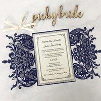 دعوات الزفاف الأزرق الفاخرة مع القوس الشريط، جناح الزفاف بريق الفضة، دعوة قطع الليزر الأنيقة - مجموعة من 50pcs1