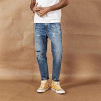 Simwood Spring лето новые разорванные джинсы мужчины лазерная печать лодыжки джинсы свободные конические дырки джинсовые брюки 190392 201111