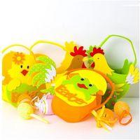 2021 Ostern Korb Vlies Cartoon Cock Handbasket Kind Kinder Ei Korb Eimer Süßigkeiten Aufbewahrung Korb Handtasche Tote Bag G12005