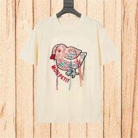 21ss kadın t shirt tasarımcı giysi deisgner ünlü stilist bayan t shirt erkek kadın çiftler kuş nakış tshirt str