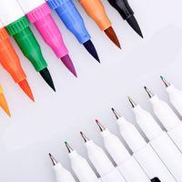 Colores Fineliner Dual Tip Brush Pen Dibujo Pintura Acuarela Arte Marcador Pens Fieltro Plumas Manga Suministros Escolares Subforts Set Y200709