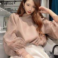 Женские блузки рубашки непла сладкий воротник воротник слоеного рукава шифоновая рубашка осень японского стиля все-матч женская блузка шикарный лук шнурок б