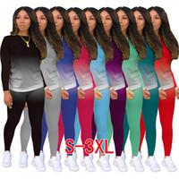 9 Renkler Kadın İki Parçalı Kıyafetler Desginer Eşofman Katı Degrade Koşu Takım Rahat Spor Kadınlar Güz 2020 Moda